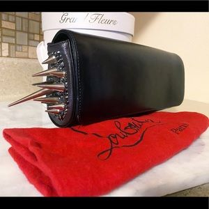 Auth. Christian Louboutin Black Spike Marquise Bag